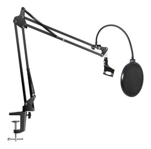 Imagen 1 de 10 de Soporte Microfono Mesa Pie Brazo Articulad + Filtro Anti Pop