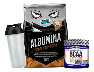 Albumina Pura 500g - Proteína Pura + Bcaa 300g + Shaker