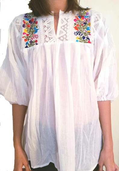 Camisa Blusa Mexicana Bordada Original Talle Grande