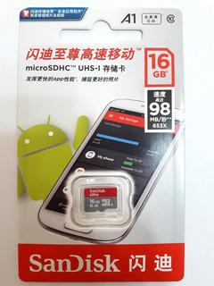 Cartão Memória Sandisk 16gb Micro Sdhc Classe 10 Ultra 98mbs + Adaptador Sandisk