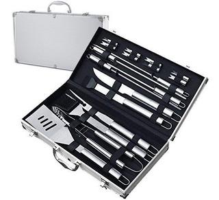 Set Asado Kit 19 Piezas 17 Estuche Aluminio Parrilla Asador
