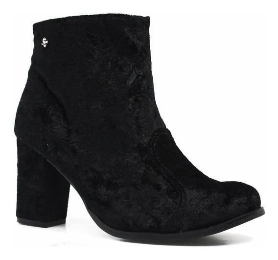 Bota Cravo E Canela Ankle Boot Salto Ziper 150203