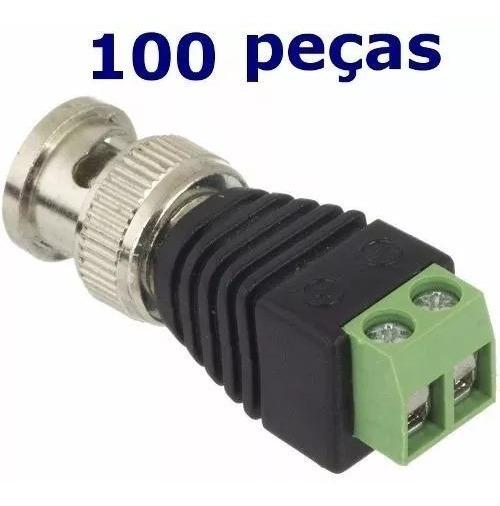 Kit 100 Conectores Bnc Borne + 100 P4 Macho P/cftv Borne