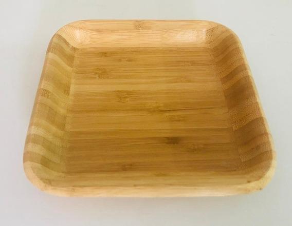 Plato Bandeja De Bambu Madera Cuadrado 20 Cm