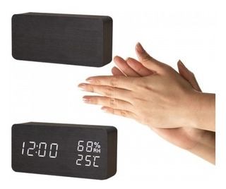 Reloj Despertador Digital Madera Corriente/batería