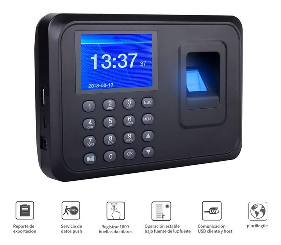 Reloj Checador De Huella, Biométrico, Memoria 1000 Huellas