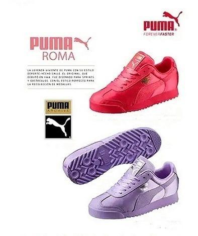 Tenis Puma Original Dama Mod. Roma Satinado Jr. Fucsia Y Mo