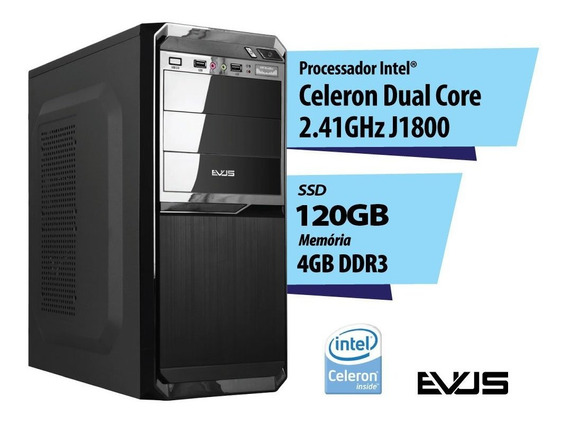 Computador Desktop Evus Intel 2.41ghz Ssd 120gb 4gb Hdmi