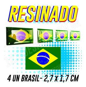 Adesivo Resinado Bandeira Do Brasil Placa Carro