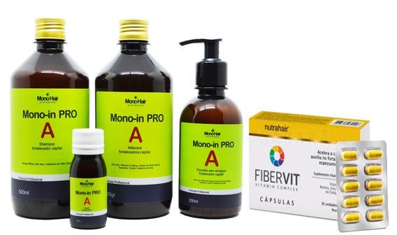 Kit Monovin Pro A + Cápsulas Fibervit Original Nutra Hair