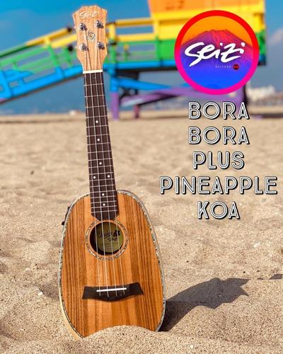 Ukulele Seizi Bora Bora Plus Pineapple Concert Elétr. Koa
