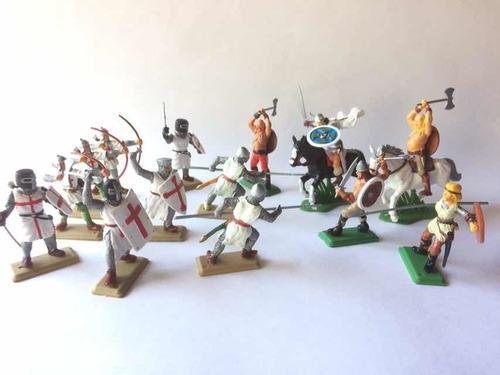 Soldados Medievales Y Vikingos 2 Soldaditos De Plástico