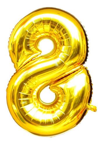 Imagem 1 de 1 de Balão Metalizado Número 8 - Dourado 110 Cm 45