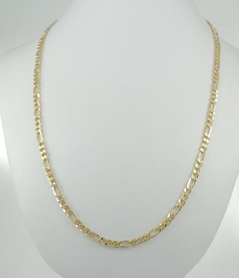 Cordão Corrente Figaro 3 Por 1 Com 70cm E 12,8g Ouro 18k 750