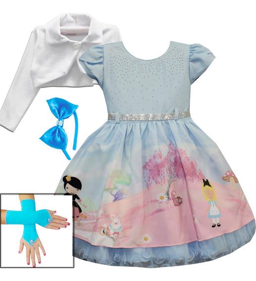 Vestido Infantil Princesa Alice No Pais Das Maravilhas Luxo