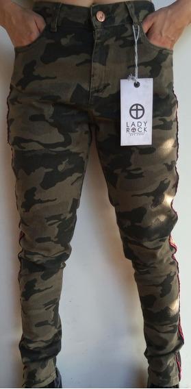 Calça Camuflada Lady Rock Hot Pants Feminina Com Lista Skiny
