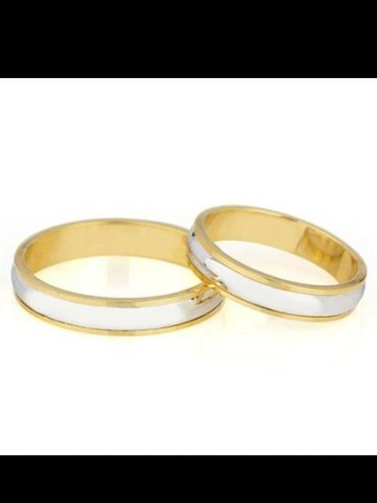 Aliança Em Ouro Amarelo E Branco 18k 750