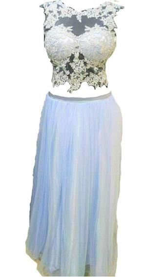 Vestido 15 Fiesta Largo Guipiur Celeste S Sabah Desing