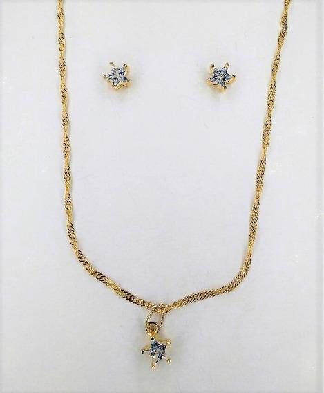 Conjunto Folheado Ouro Cristal Zircônia Estrela Luxo 3240290
