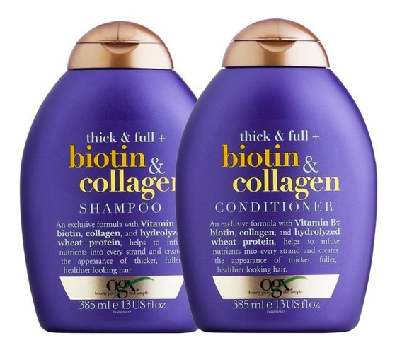 Kit Ogx Biotin & Collagen: 1 Cond 385ml + 1 Shampoo 385ml