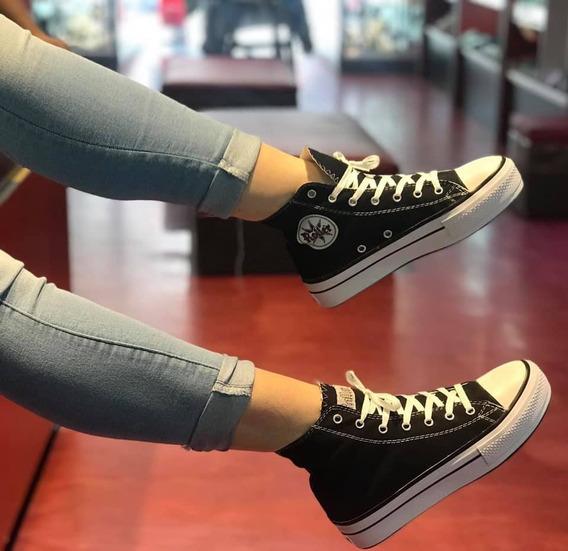 Zapatillas Botitas Tipo Converse Plataforma Lona Negras Prom