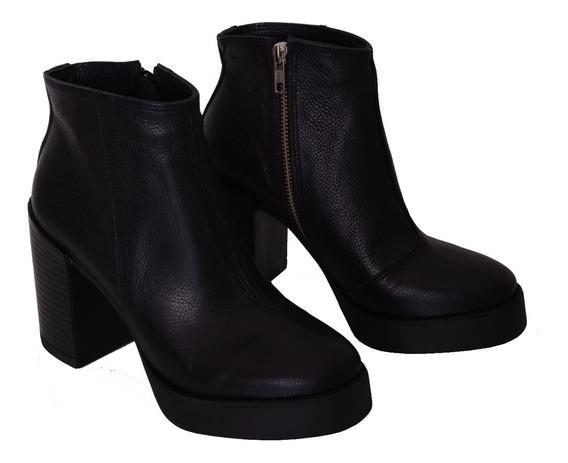 Zapato Tacón Bota Mujer Lucerna Oficial Cuero Negro