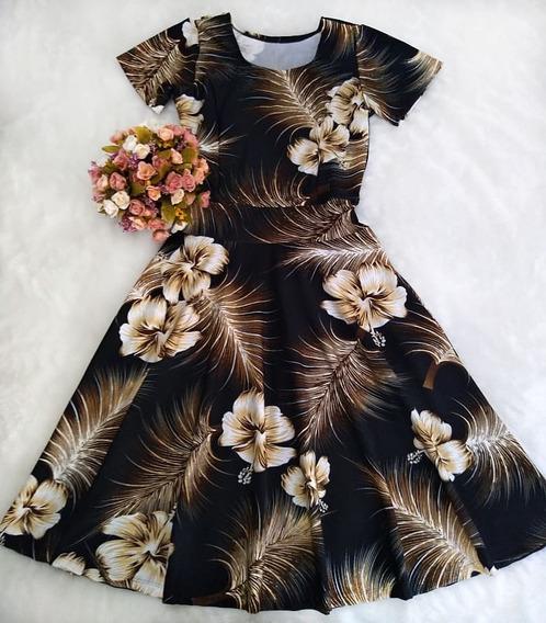 Vestido Com Parte Da Saia Godê Rodada Moda Evangélica