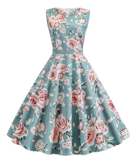 Vestido Floral Estampado Verano Vintage Elegante