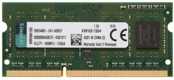 Memória Kingston 4gb Pc3 - 12800 Cl11 204pin - Kvr16s11s8/4