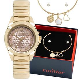Kit Relógio Condor Feminino Barato Garantia Co2035kwg/k4t