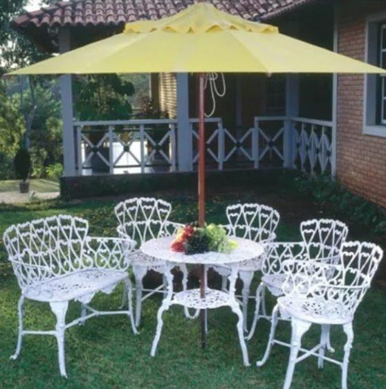 Jogo 4 Cadeiras 1 Mesa Grande Alta 1 Namoradeira Para Jardim