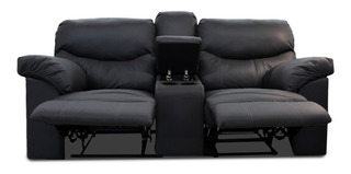 Love Seat Con Reclinables De Piel Genuina Houston
