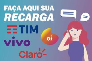 Recarga Celular Crédito Online 01, Vivo, Claro, Tim R$ 10,00