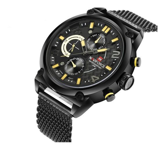 Relógio Masculino De Pulso Naviforce Malha Data Militar Aço