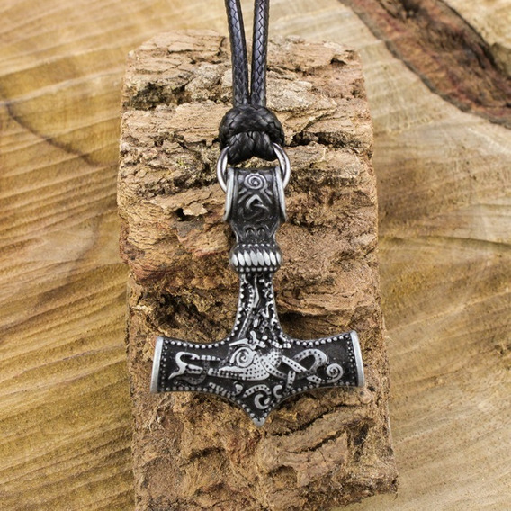 Colar Viking Martelo Mjölnir Deus Nórdico Thor Prata Velha