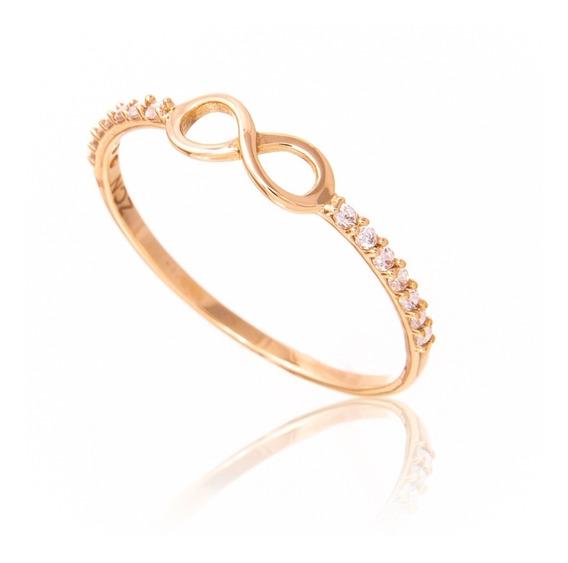 Anel Infinito De Ouro 18k/750 Mais Diamantes No Aro E01 Vivj