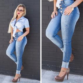 Conjunto Calça Cropped Jeans Amarrar Plus Size Com Lycra