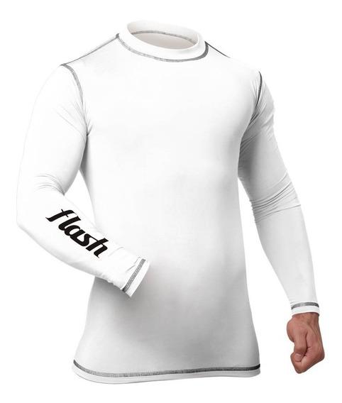 Remera Camiseta Térmica Flash Manga Larga Blanca Azul Bordo