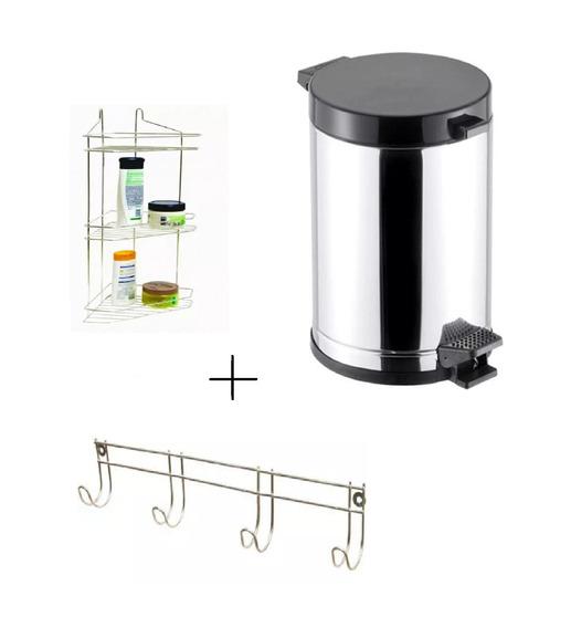 Kit Lixeira + Sup Shampoo Triplo + Sup Toalha Para Banheiro