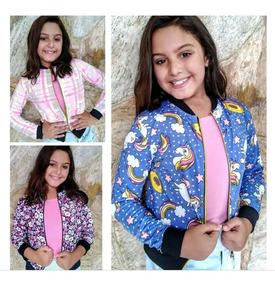02 Jaqueta Bomber Infantil Feminino Unicornio Blusa
