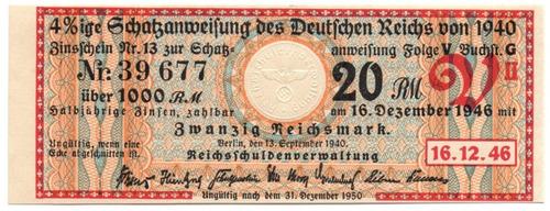 Alemania Cupón De Bono De 1000 Marcos 1940