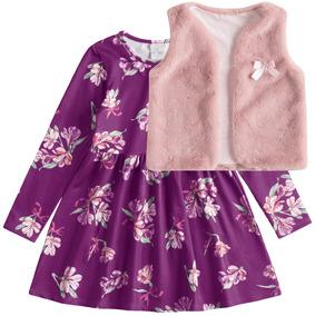 Conjunto Vestido + Colete Lecimar Kids Em Suplex E Pelo