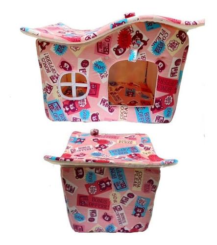Casinha Cachorro Pequeno Casa Cama Pet Luxo Rosa Com Urso
