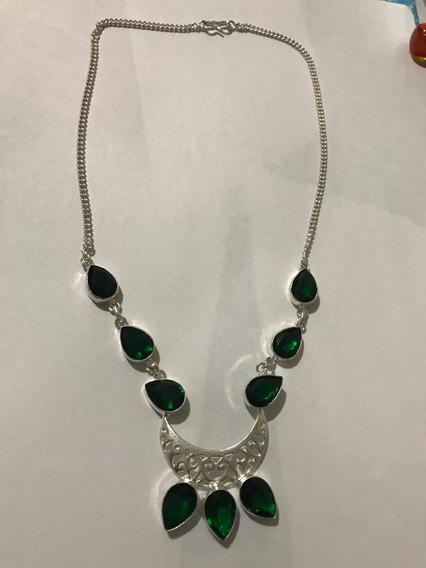 Collar De Plata De Esmeraldas Un Buen Regalo