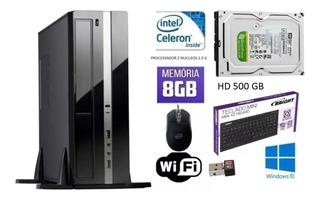Cpu Intel Dual 2.4ghz Gabinete Itx Hd 500gb 8gb Ram + Wi Fi
