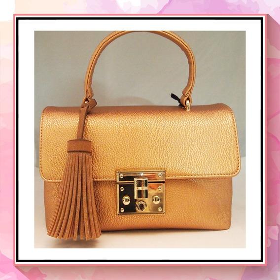 Bolsa De Mano Cloe Copper Briefcase Con Borla Original
