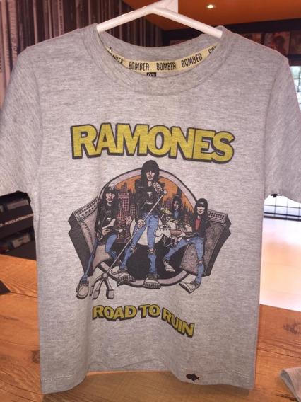 Camiseta Infantil Ramones Road To Ruin Tam. 4 Malha Mescla
