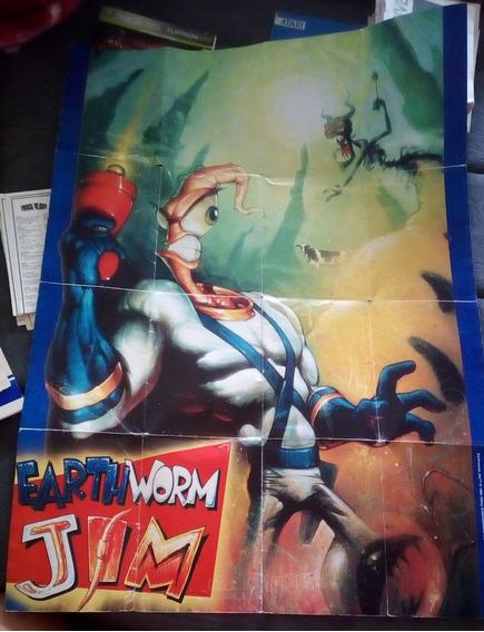 Pôster De Cartucho Earthworm Jim Mega Drive Raríssimo!