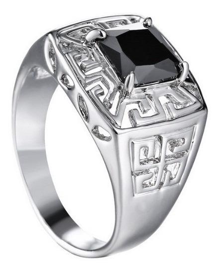 Anel Masculino Homem Banhado Prata 925 Luxo Pedra Onix Preta