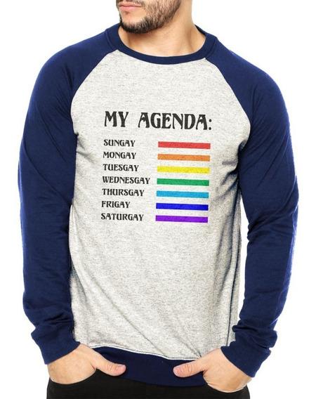 Moletom Raglan Masculino Mescla Lgbt Agenda Gay Estilosa Blusa De Frio Moderna
